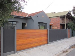Cedar Sliding gate with Rippleiron Fencing
